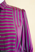 Load image into Gallery viewer, 80s Purple & Green Striped Dress / S-M