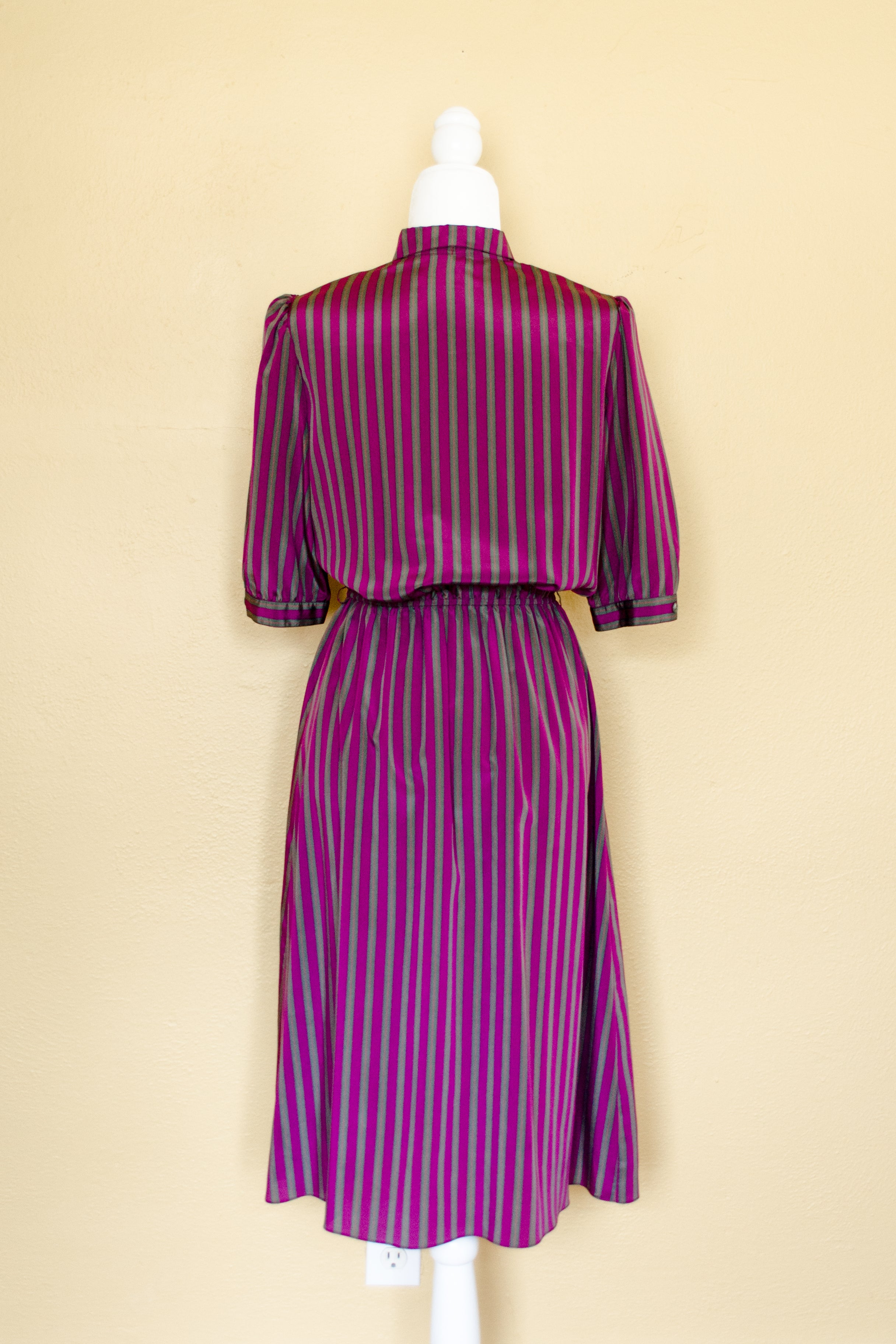 Vintage 80s Purple & Green Striped Dress / S-M