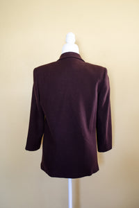 Vintage 80s-90s Chocolate Wool Blazer / S