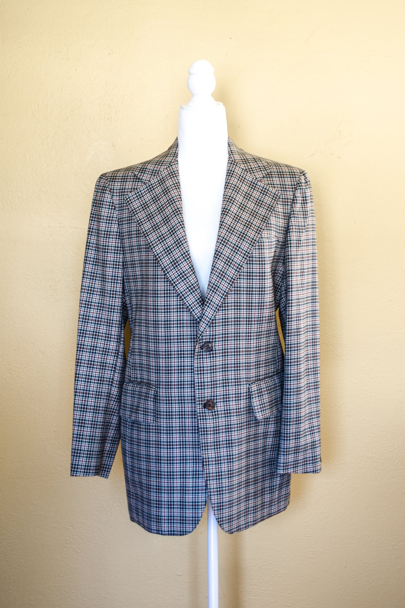 70s Green Plaid Blazer / S-M