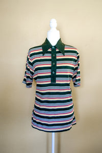 70s Green Striped Polo Top / S-L