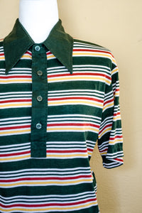 Vintage 70s Green Striped Polo Top / S-L