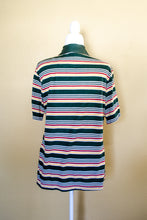 Load image into Gallery viewer, Vintage 70s Green Striped Polo Top / S-L