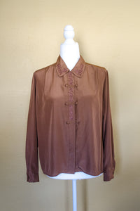 Vintage 80s Light Brown Embroidered Blouse / S-M