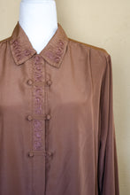 Load image into Gallery viewer, Vintage 80s Light Brown Embroidered Blouse / S-M