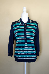 80s Green & Blue Striped Sweater / S-M