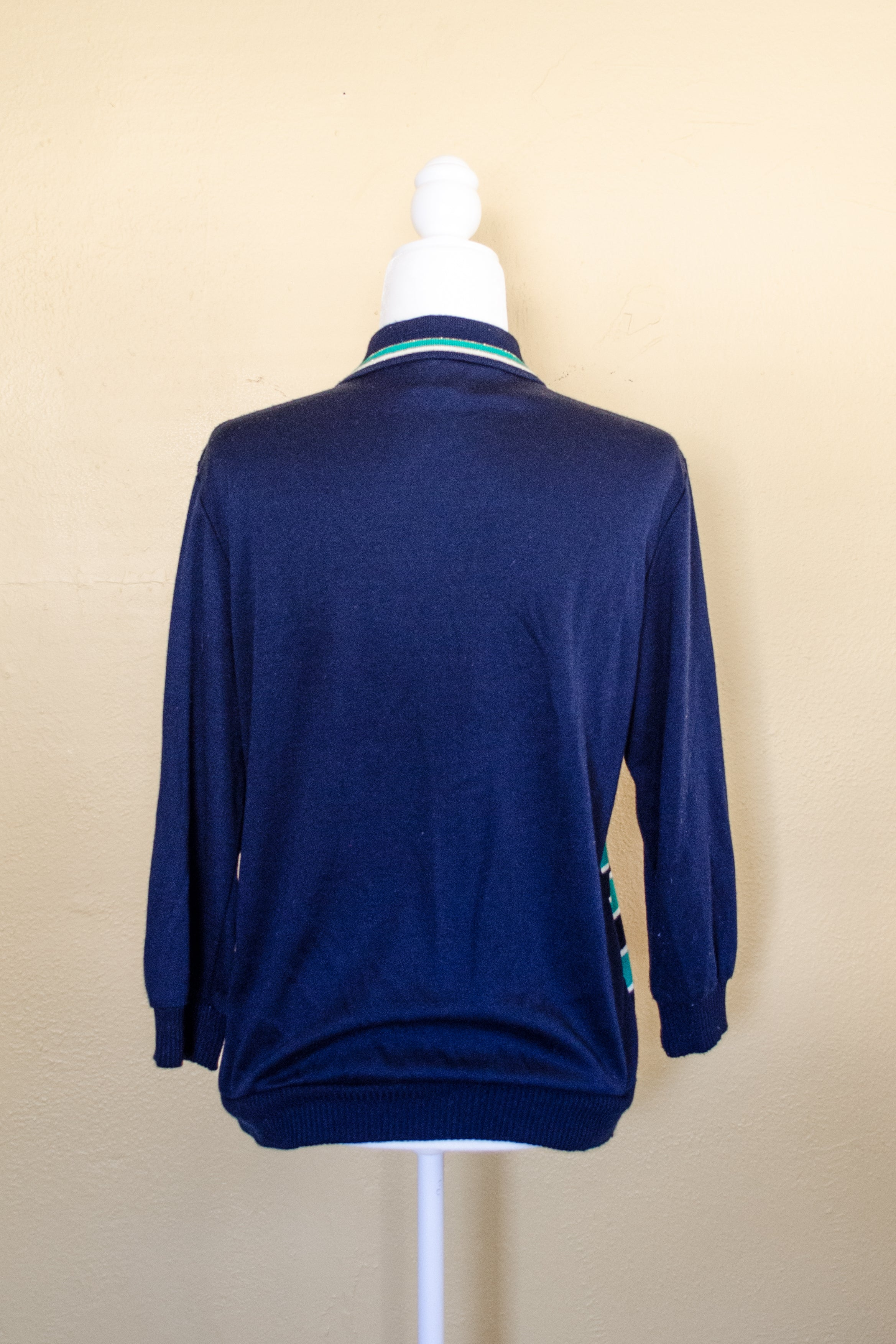 Vintage 80s Green & Blue Striped Sweater / S-M