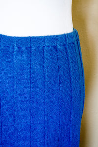 80s Blue Pleated Sweater Skirt / M-L