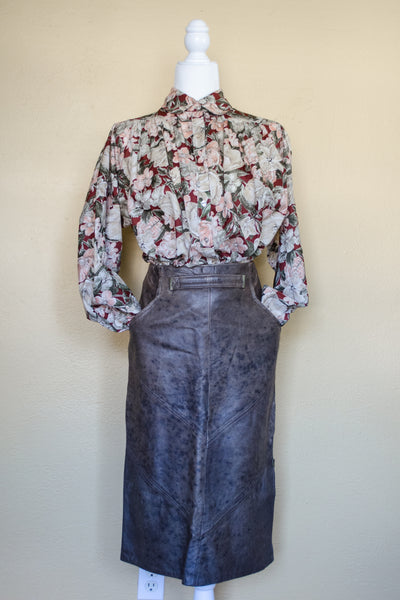 Vintage Brown Leather Skirt / XS
