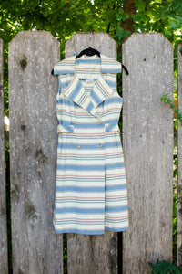 50s Handmade Striped Dress / S