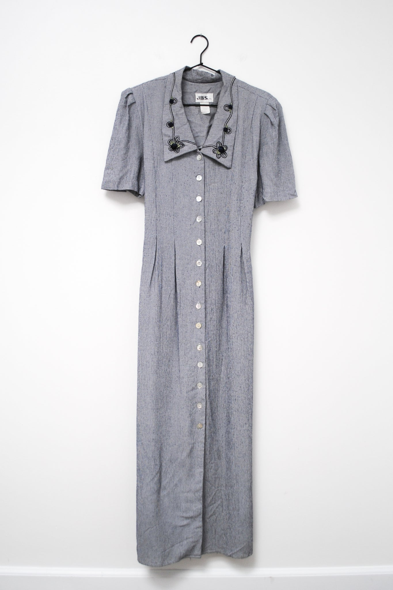 90s Blue Houndstooth Dress / S-M
