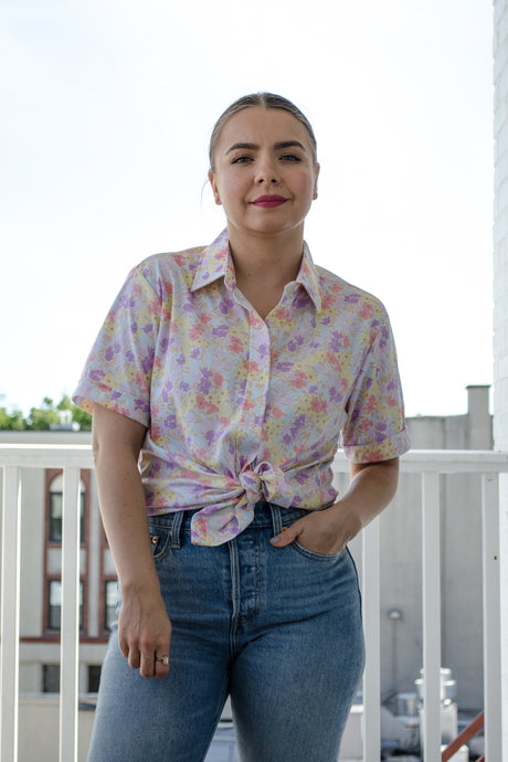 Vintage 70s Pastel Floral Shirt by Sears / S-M