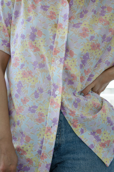 70s Pastel Floral Shirt by Sears / S-M