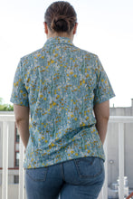 Load image into Gallery viewer, 70s Blue Floral Shirt by Sears / S-M