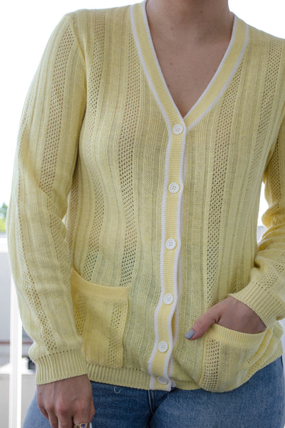 80s Yellow Open Knit Cardigan / XS-M