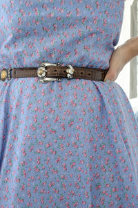 Vintage Handmade Blue Floral Dress / XS-S