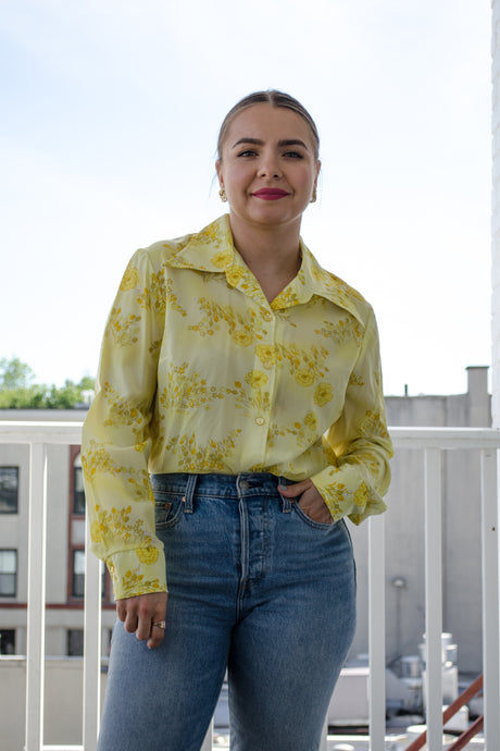 70s Yellow Floral Blouse / S-M
