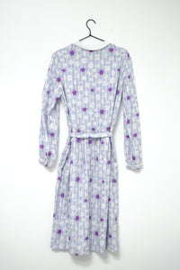 Vintage 80s Purple Floral Dress / M-L
