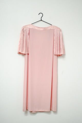 80s Ruffle Sleeve Satin Dress / M-L