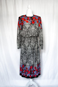 Vintage Black Paisley Floral Dress / M