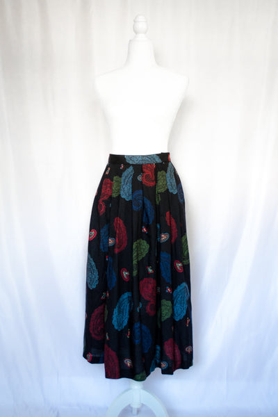 80s Black Paisley Skirt / XS-S