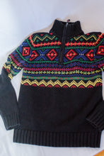 Load image into Gallery viewer, Vintage Black Fair isle Sweater / XS- S