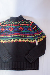 Vintage Black Fair isle Sweater / XS- S