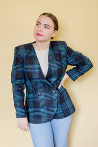 80s Black Tweed Blazer / S