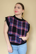 Load image into Gallery viewer, Vintage 80s Black Plaid Sweater Vest / S-L