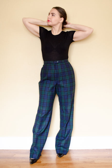 60s-70s Plaid Wool Pants / L