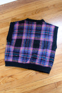 Vintage 80s Black Plaid Sweater Vest / S-L