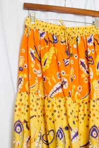 Yellow & Orange Paisley Tiered Broomstick Skirt / S-L