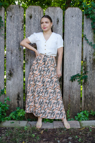 90s Black Floral Maxi Skirt / S