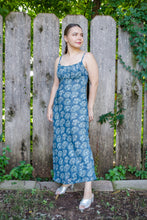 Load image into Gallery viewer, Vintage 90s Blue Floral Empire Maxi Dress / S