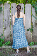 Load image into Gallery viewer, 90s Blue Floral Empire Maxi Dress / S