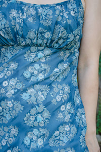 90s Blue Floral Empire Maxi Dress / S
