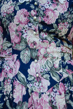 Load image into Gallery viewer, Vintage 80s Navy Floral Dress / S