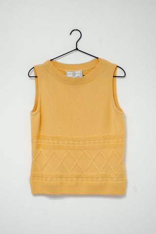90s Yellow Sweater Knit Tank by St.John / S-M