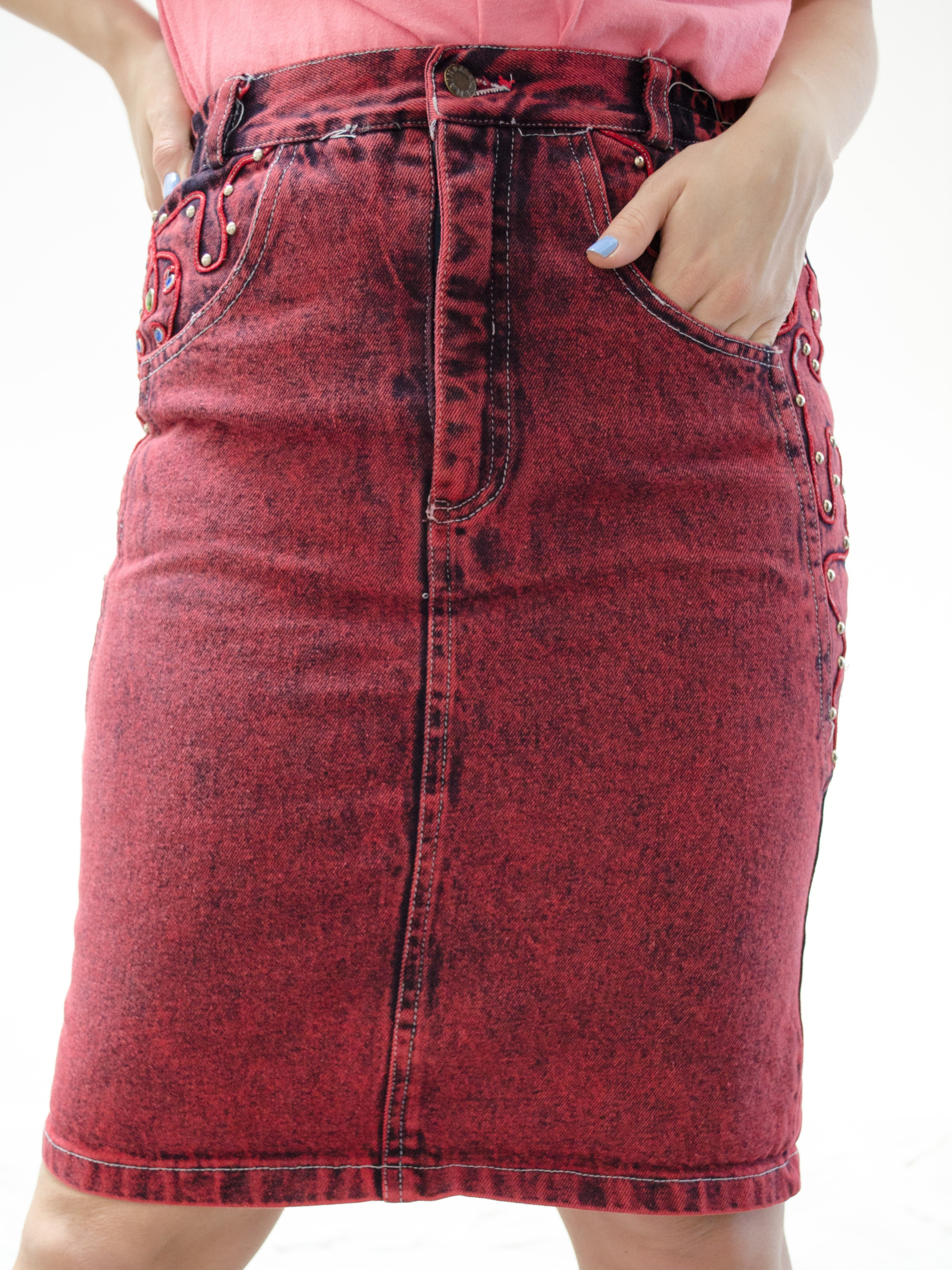 Vintage 80s Embellished Red Denim Skirt by Main Jeans / S-M