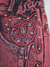Load image into Gallery viewer, Vintage 80s Embellished Red Denim Skirt by Main Jeans / S-M