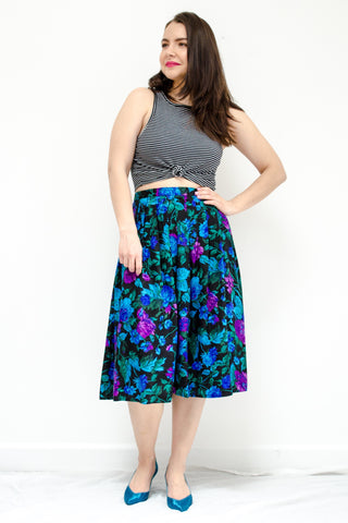Vintage Black Floral Silk Skirt by Maggy London / M-L