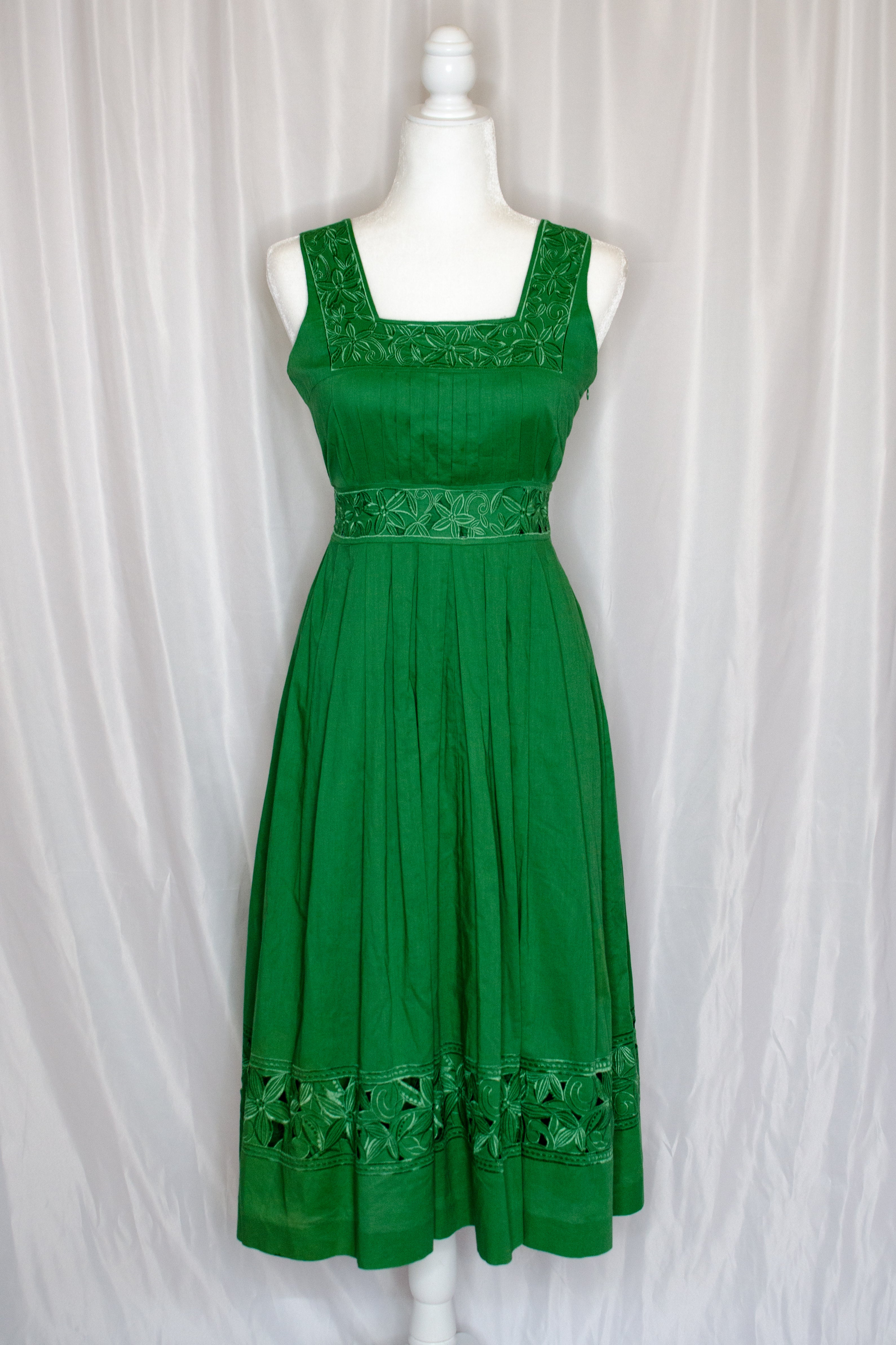 Vintage 70s-80s Kelly Green Dress / S