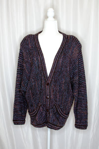 Vintage 70s Navy & Red Striped Cardigan  / S-L