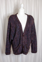 Load image into Gallery viewer, Vintage 70s Navy & Red Striped Cardigan  / S-L
