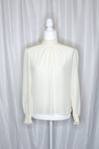 Vintage White Gathered Blouse / S-M
