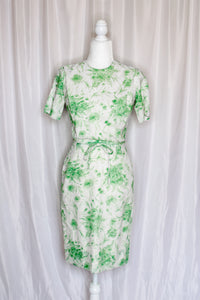 Vintage 50s-60s Green Floral Dress / XS