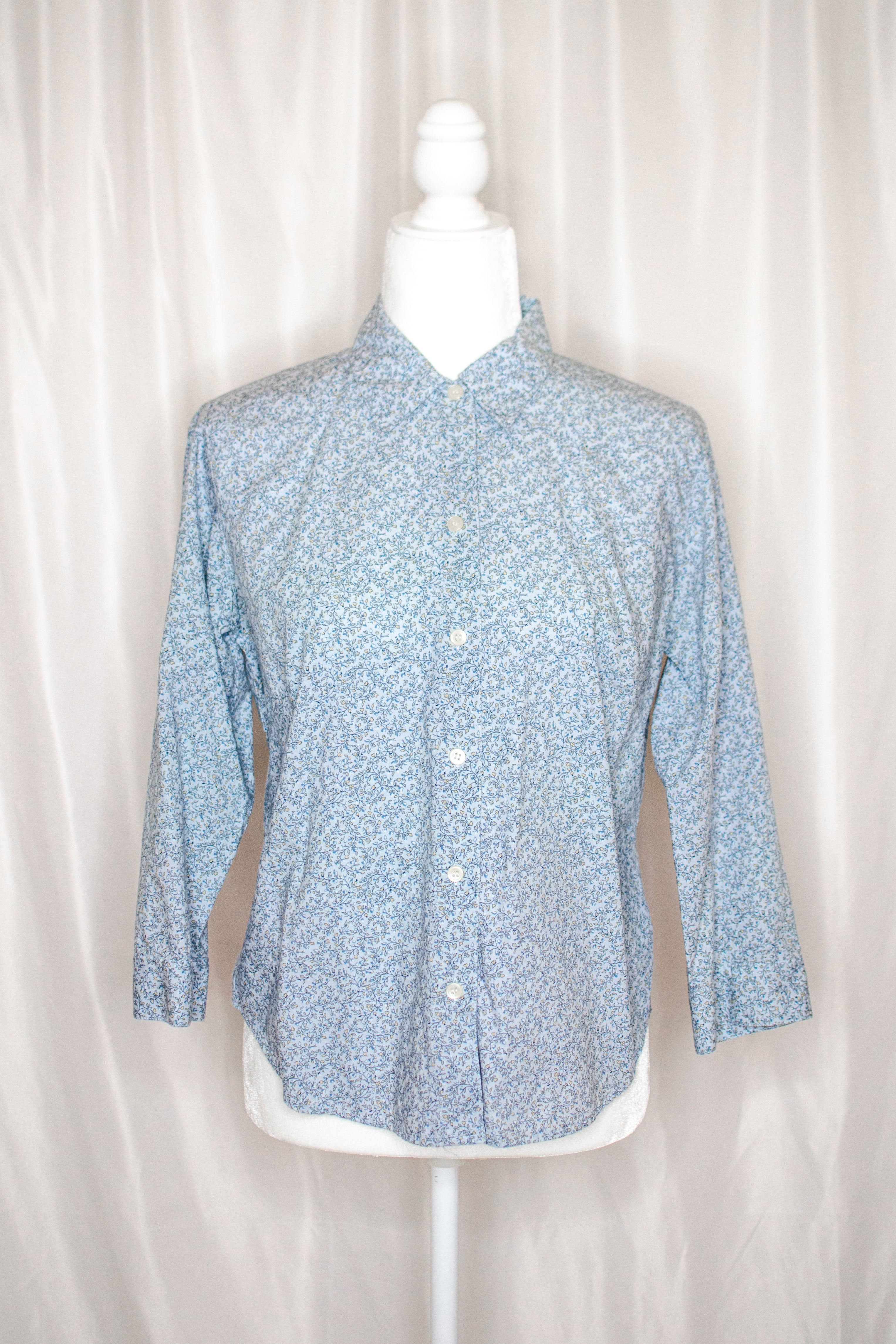 Vintage 90s Light Blue Floral Shirt by Liz Claiborne / S-M