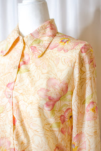 Vintage 70s Yellow Floral Shirt / S-M