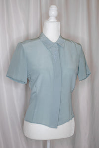 Vintage 80s-90s Light Blue Silk Shirt / XS-S