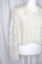 Load image into Gallery viewer, Vintage 90s White Crochet Cardigan  / S-M